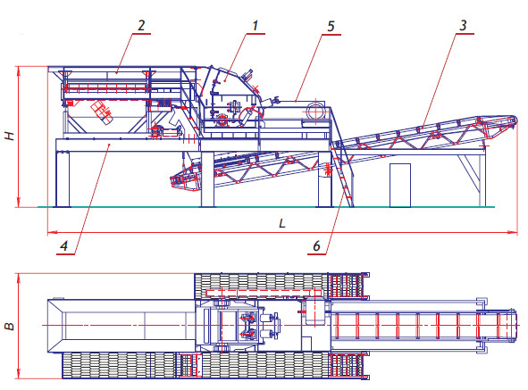 1 - дробилка роторная; 2 - вибрационный питатель; 3 - конвейер выгрузки; 4 - рама; 5 - привод; 6 - площадка...